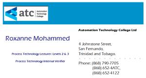 Roxanne Mohammed business Card