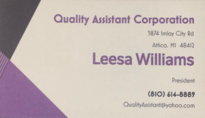 Leesa Williams Business Card